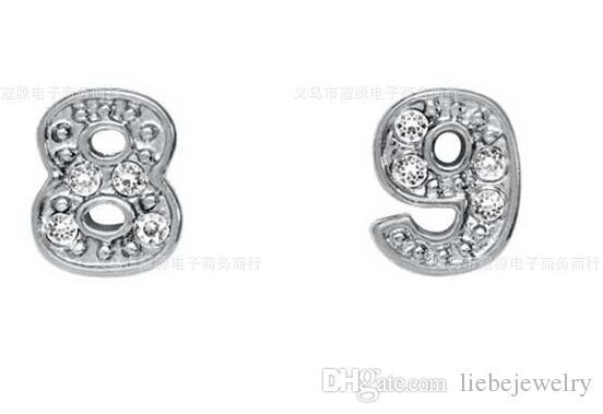 الراين الفضة مطلي رقم 0-9 سبائك سحر العائمة صالح للزجاج المنجد مجوهرات ديي 100 قطعة / الوحدة