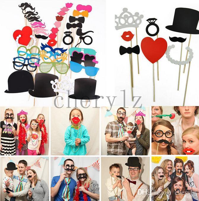 Decoração de natal Photo Booth Props Óculos Coroa Chapéu Bigode Em Um Vara Decoração da Festa de Casamento Máscara C1396