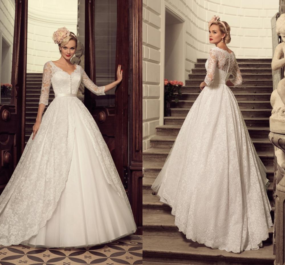 Western Victorian Ball Gown Wedding Dresses V Neck Bodice Button ...