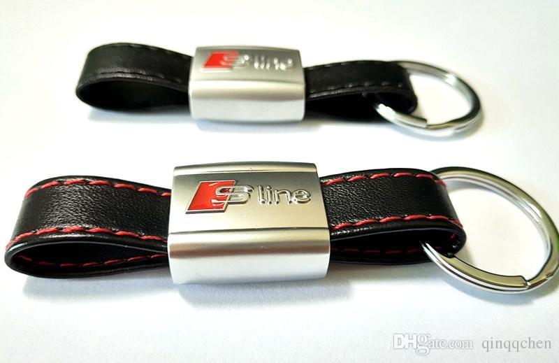 3D SLine Эмблема Значок Наклейки Черная Красная Линия Кожа для Audi 3 A4 A5 A6 A8 TT Q5 Q7 SLine Брелок Брелок Брелок Высокое качество