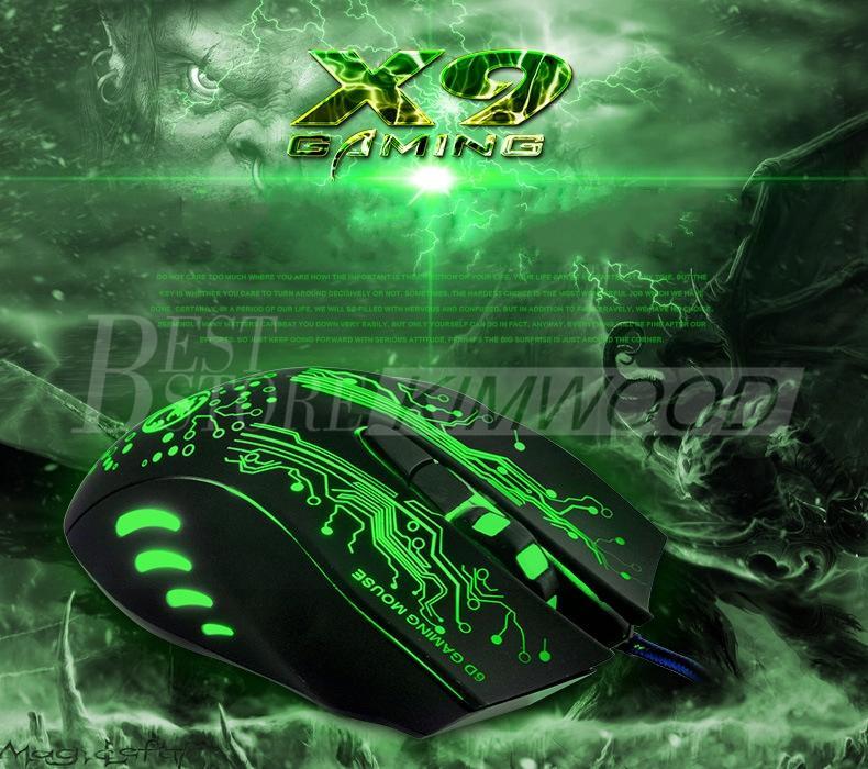 Jogo profissional Mouse 2400 DPI 6 Botões USB 7D LED Optical Wired Ratos Para Computador Persional Novo Design Modelo X9