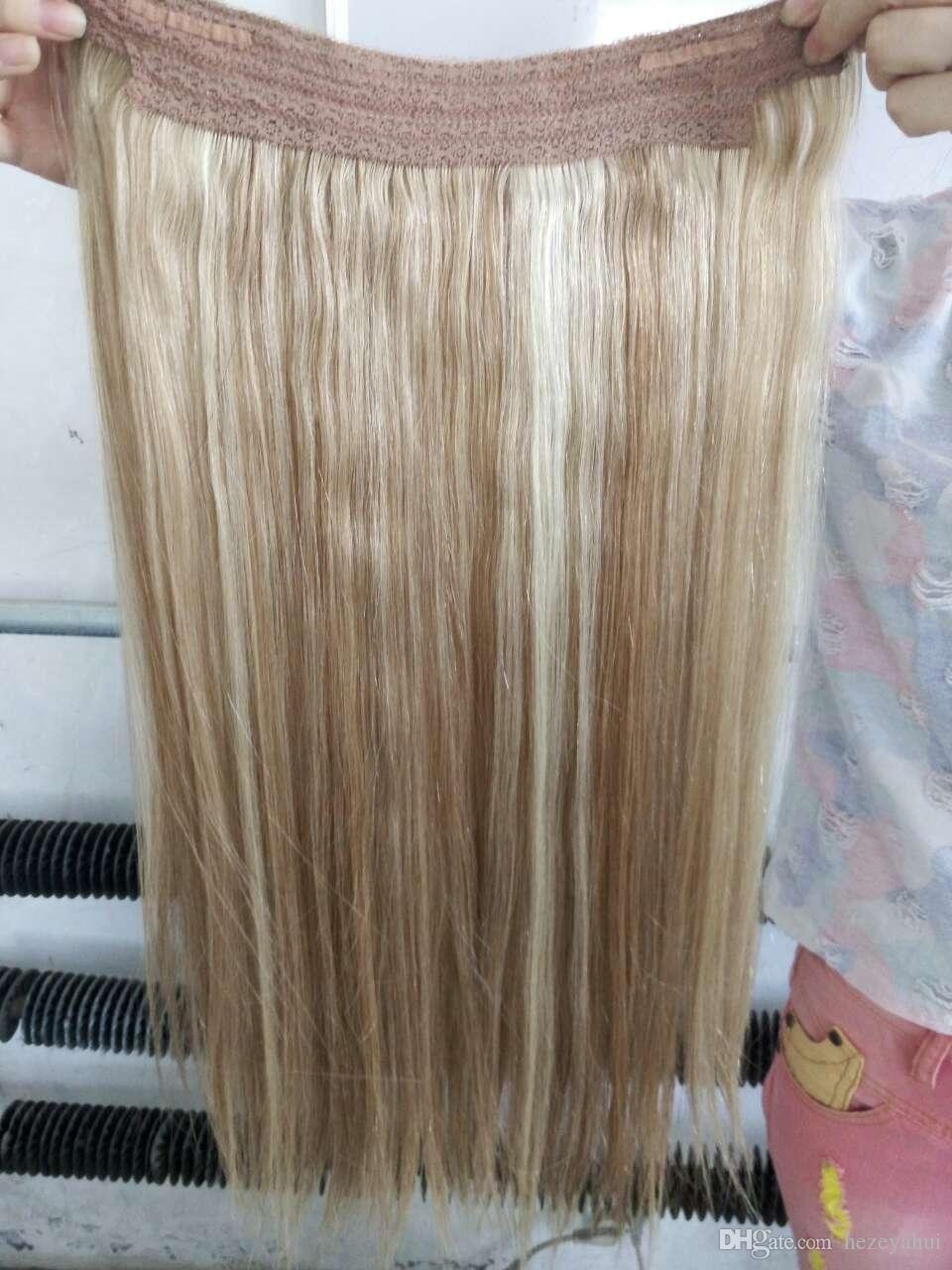 Cheap double drawn indian remy hair no clips halo flip in hair double drawn indian remy hair no clips halo flip in hair extension easy fish line human hair weaving blonde mixed color 27613 pmusecretfo Image collections