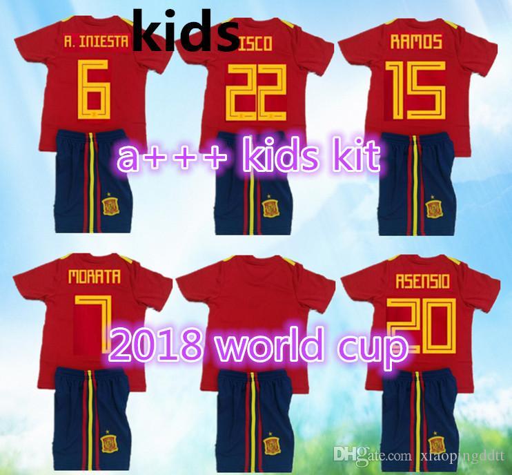 bcfeb0f81 TOP QUALITY 2018 Spain Red MORATA ASENSIO Home Kids Kit Soccer ...