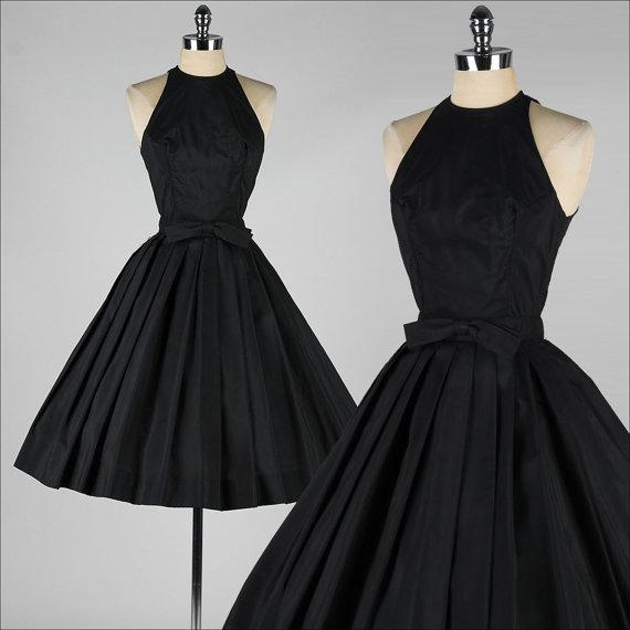 Vintage 1950s Prom Dresses 2015 Little Black Dress Taffeta Halter