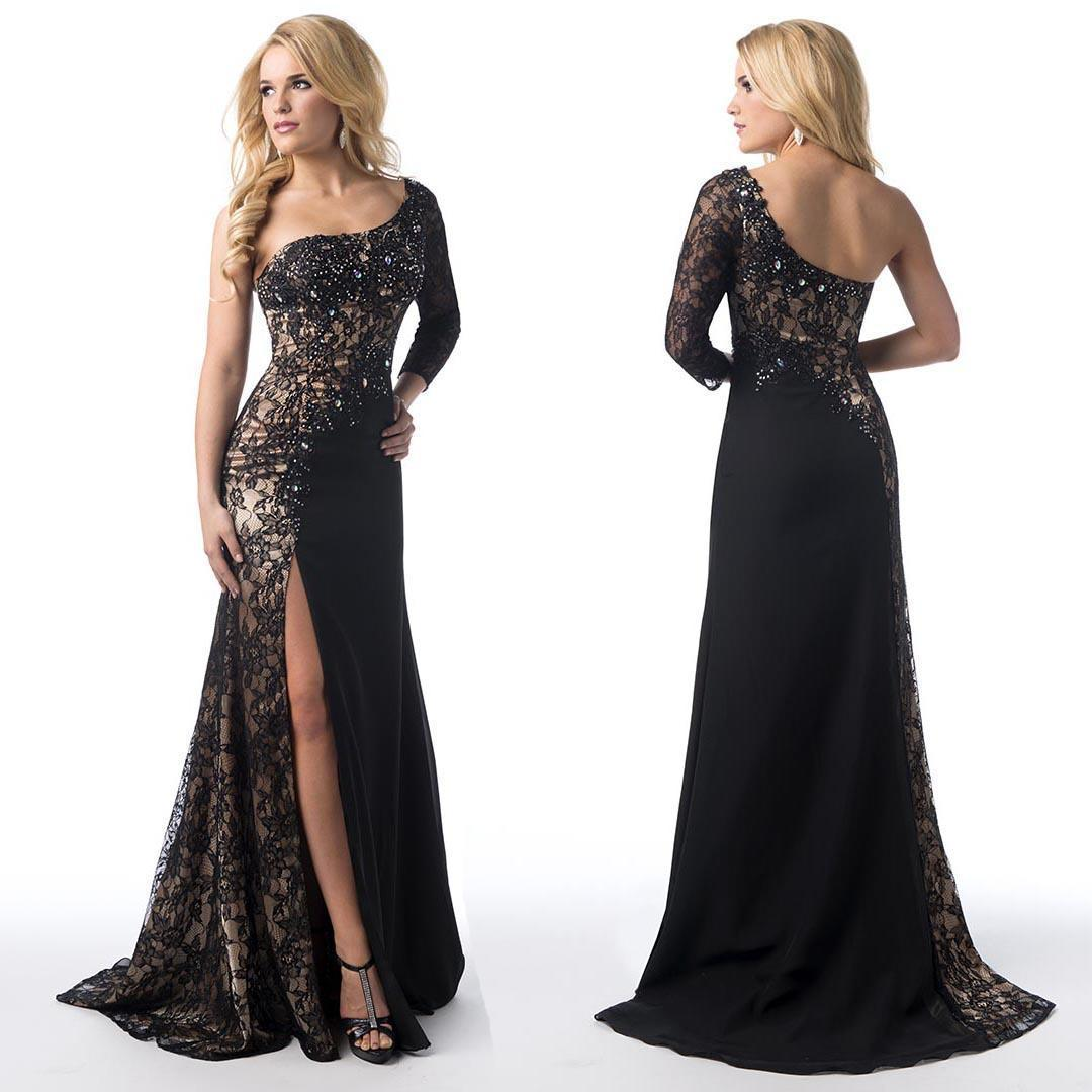 Sheer Lace Black Evening Prom Dresses 201