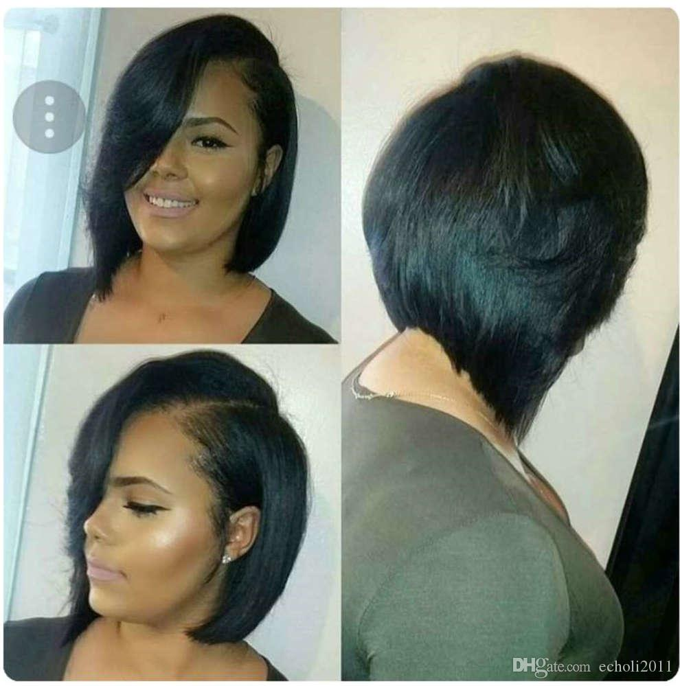 Fashion Bob hairstyle Wigs side Bangs For Black Women 180% density Virgin hair glueless lace front Wig pixie cut bob wigs 12-16inch