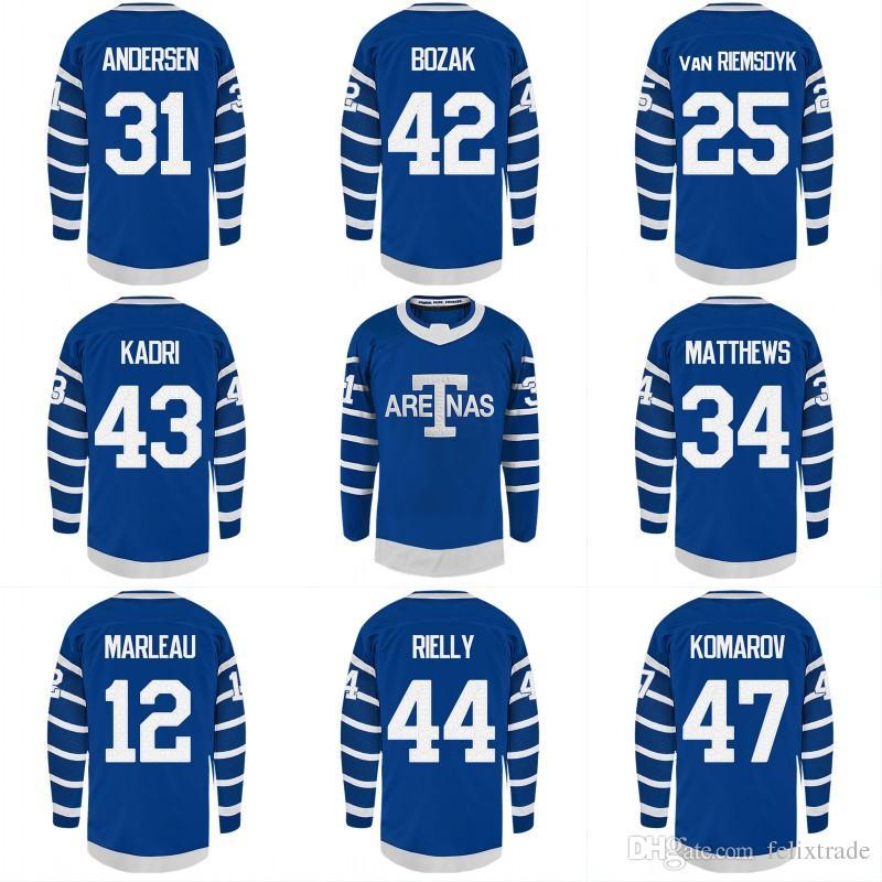 pretty nice d308c af7c4 Toronto Maple Leafs Arenas Jerseys 31 Frederik Andersen 42 Tyler Bozak 25  James van Riemsdyk Nazem Kadri TORONTO ARENAS Custom Hockey Jersey