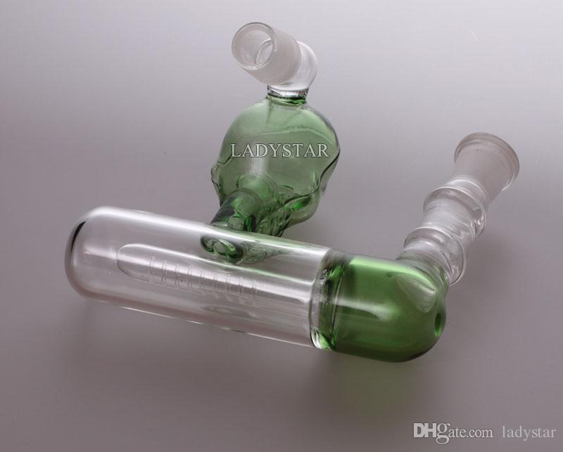 Nuevo cráneo Tubos de agua de vidrio Cenicero Percoladores Percolador en línea en 14 mm Bongs de vidrio Cuencos de vidrio Pipas de fumar Burbujas L152A