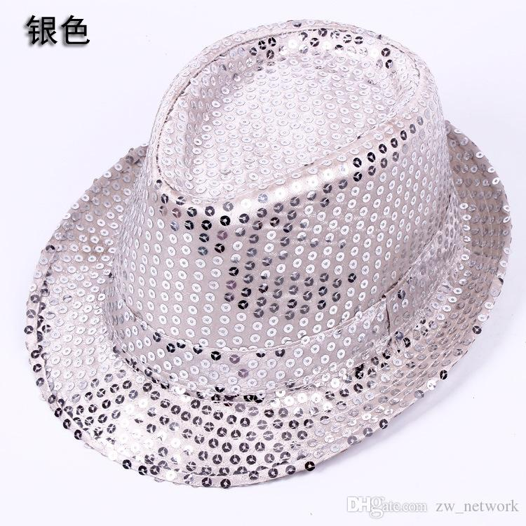 ! Fashion Paillettes Jazz cappelli TOP cappelli uomo donna Elegante Trilby Paillettes Performance Cappellino da ballo la festa di Natale