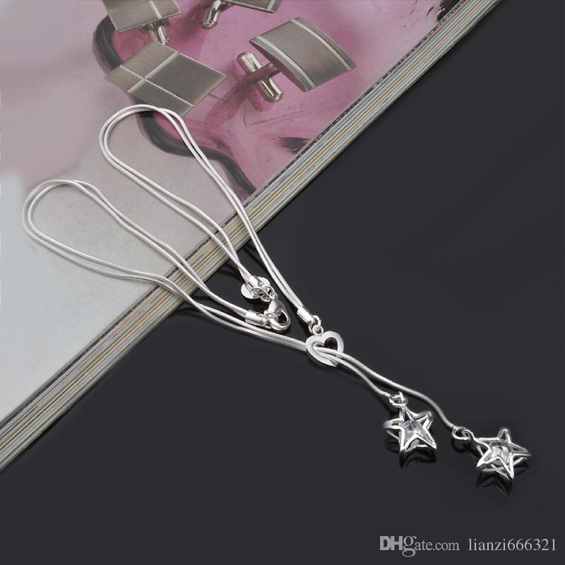 fashion high quality 925 silver star with diamond jewelry 925 silver necklace Valentine's Day holiday gifts hot 1423