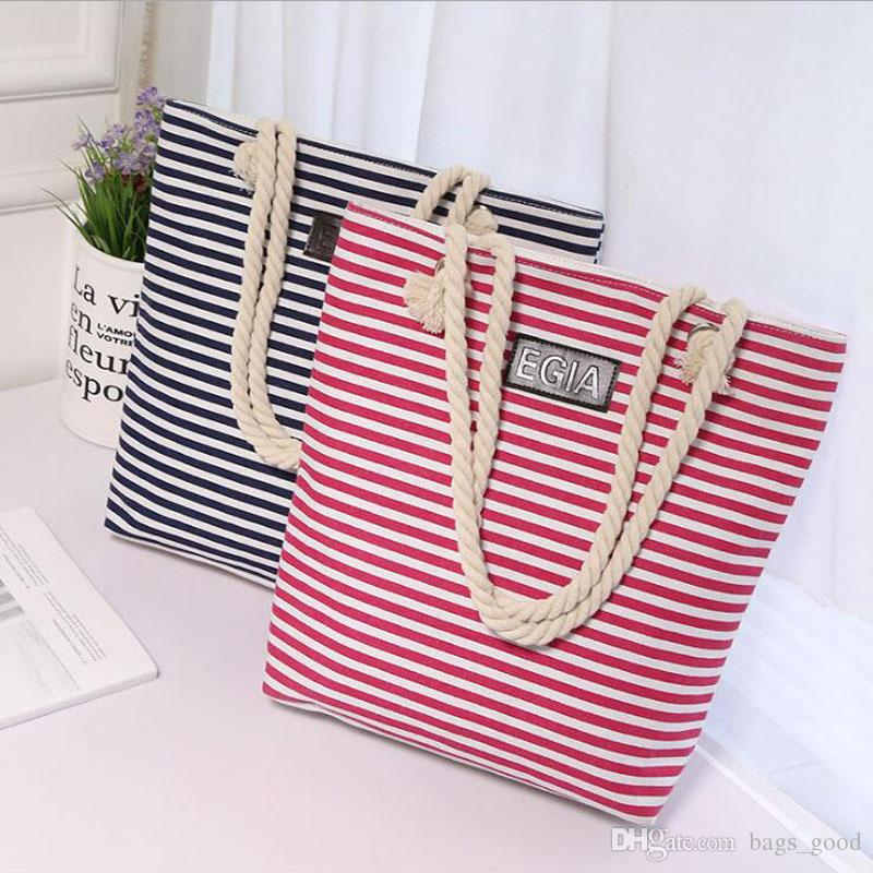 Women Beach Canvas Bag Fashion Color Stripes Handbags Ladies Large Tote  Handbag Totes Casual Drawstring Bags Cotton Bags Purple Handbags From  Bags good b2c88c9821ffc