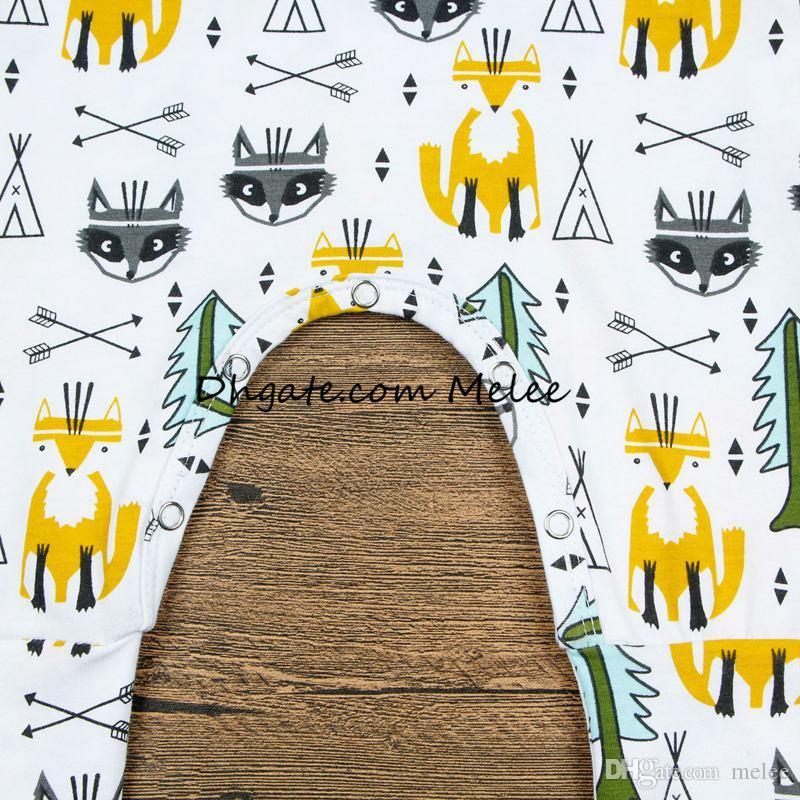 ins весна цвет дети золотая лиса печати комбинезоны младенческой ребенка хлопок вечнозеленые деревья полный печати комбинезон боди стрелка комбинезоны 0-2years