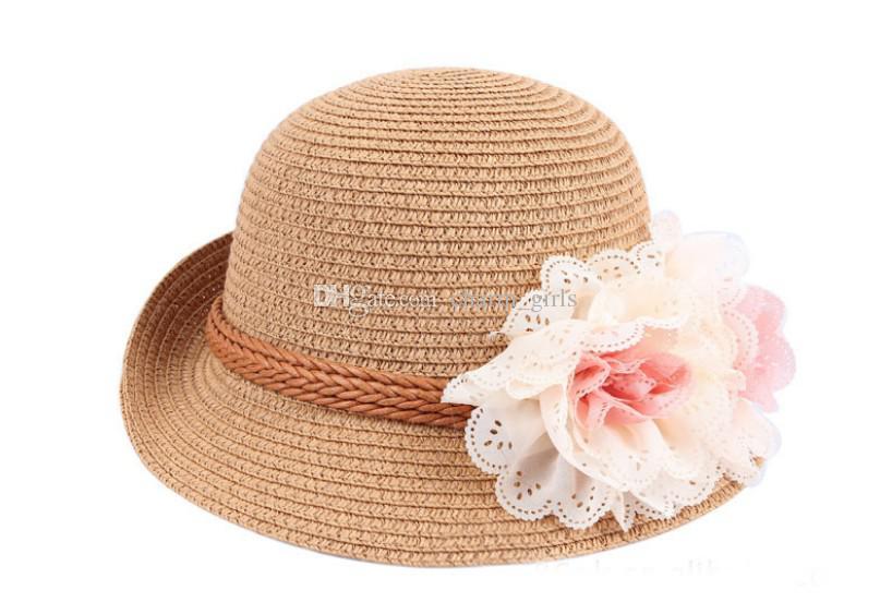 Kızlar güzel güzel güneş şapkası! Çiçek Bebek Güneş Şapka Çocuklar Saman Fedora Şapka Bebek Kapaklar Kızlar Güneş Şapka Çocuk Yaz Şapka Caz Kap