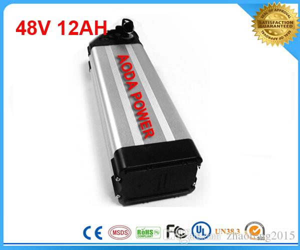 Yüksek kaliteli gerçek kapasite lityum pil BMS ile 48 V 12AH elektrikli bisiklet li iyon pil, şarj