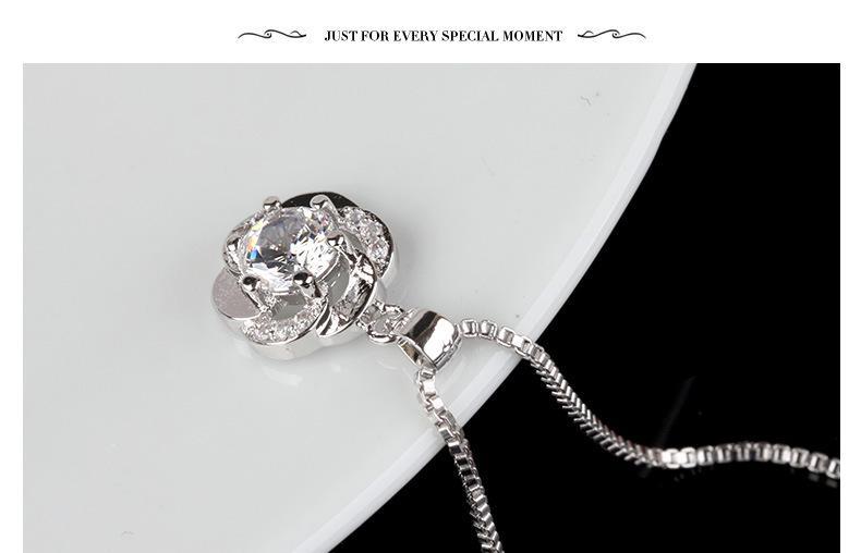 Yeni Takı 30% 925 Ayar Gümüş Üst Sınıf Elmas Erik Çiçek Avusturya Kristal Kolye Kolye Düğün için