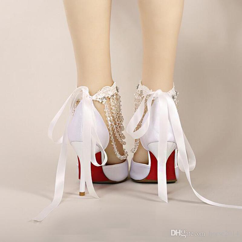 Été À Talons Hauts Chaussures De Mariée Blanc Satin Cristal Dragonne Sangle Sandales Femmes Banquet De Mariage Chaussures Pointu Bout À La Main