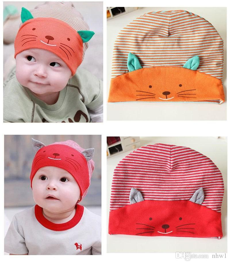 Cute Baby Infant Beanie Cotton Hat Toodler Boys Girls Kids Striped Stripe Cat Cap