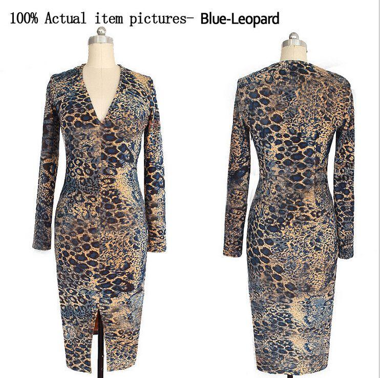 2016 Spring/Autumn Women Clothes Europe Slim Sexy Leopard Print dress Fashion Spilt Deep VNeck Long Sleeve Bodycon Casual Dresses for Womens