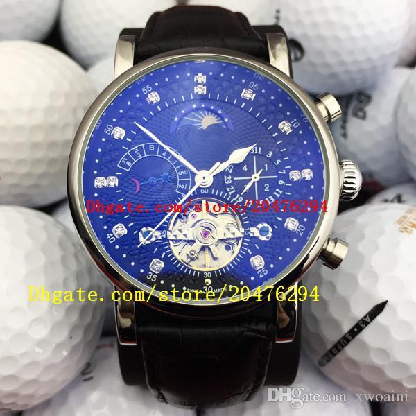 Top Luxury brand svizzero Orologio automatico Orologio a carica automatica Orologi MoonPhase in vera pelle Tourbillon Orologio classico da uomo Gentleman