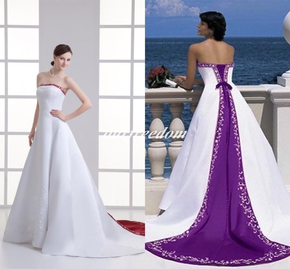 Purple Wedding Dresses.2019 Robe De Mariage Purple And White Wedding Dresses Red Satin Lace Up Back Embroidery Appliques Bridal Gown Custom Made