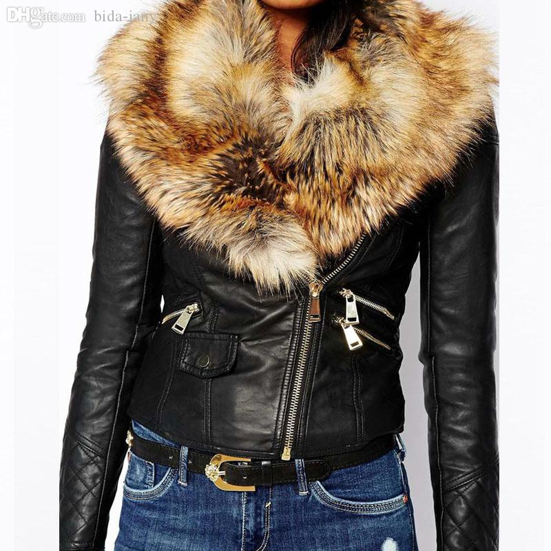 Wholesale Fur Collar Mosaic Pu Leather Jacket Women Zipper Short ...