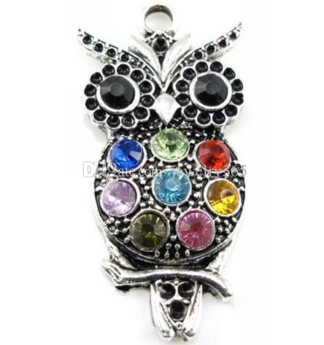 Hot 30pcs Tibetan Silver Zinc Alloy Crystal Owl Charms Necklace Pendant For Jewelry Making 48x24mm