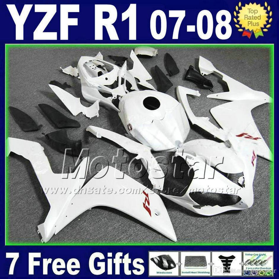 Kit carénage blanc mat pour YAMAHA R1 2007 2008 kits injection plastique 07 08 kits carénages R1 moto 2TH6