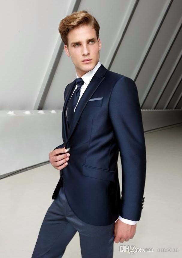 Новая Мода Slim Fit Мужчины Свадебные Костюмы Куртка+Брюки+Жилет 3 Шт. Жених Смокинги Жениха Шафер Костюмы На Заказ Мужчины Свадебные Костюмы