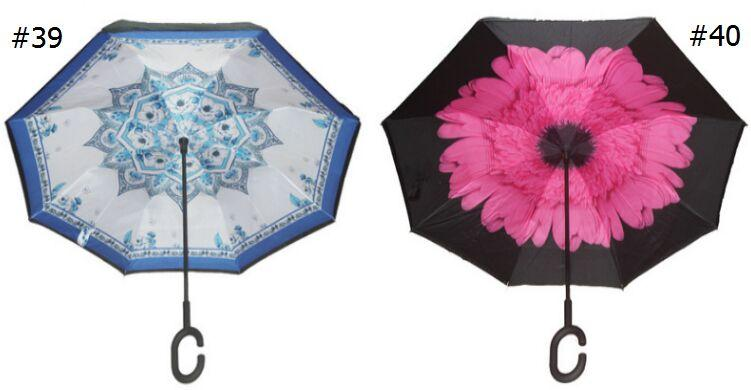 HOT Windproof Umbrella Reverse Folding Double Layer Inverted Chuva C Handle Umbrella Self Stand Inside Out Rain Protection C-Hook Hands