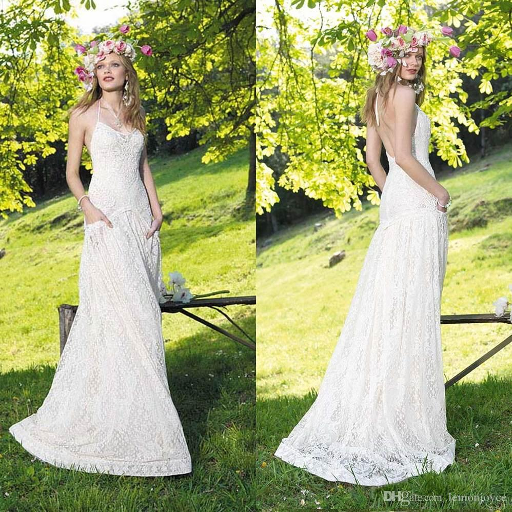 Discount Custom Made Bohemian Vintage 2015 Wedding Dresses A Line Low Back Lace Plus Size Halter Court Train Bridal Gowns With Pocket Silver