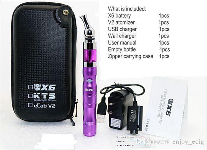 X6 V2 Başlangıç kiti e sigara elektronik sigaralar 1300 mah değişken gerilim 3.6 V 3.8 V 4.2 V ego x6 kiti