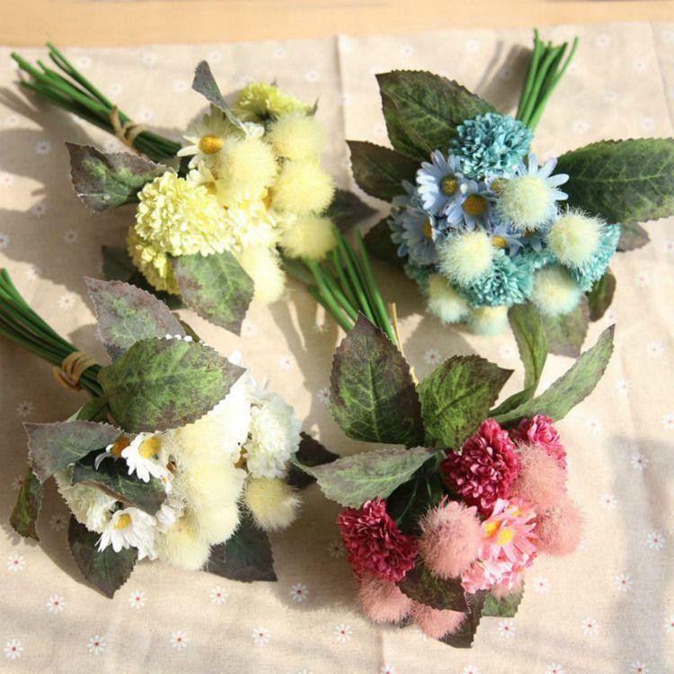 Centerpiece Bridal Pompon Chrysanthemum Flower Bouquet Holding ...