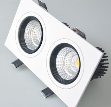 Double Head 10w*2 Dimmable Cob Led Downlight Ceiling Recessed Down Light  Ac85 265v White + Black Indoor Lamp Cree Downlight Pull Down Lights From  Xinxin98, ...