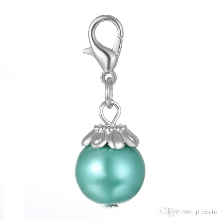 Perle flottante se balance pour les médaillons flottants Tagged Dangle avec argent tibétain Charms DIY fabrication de bijoux