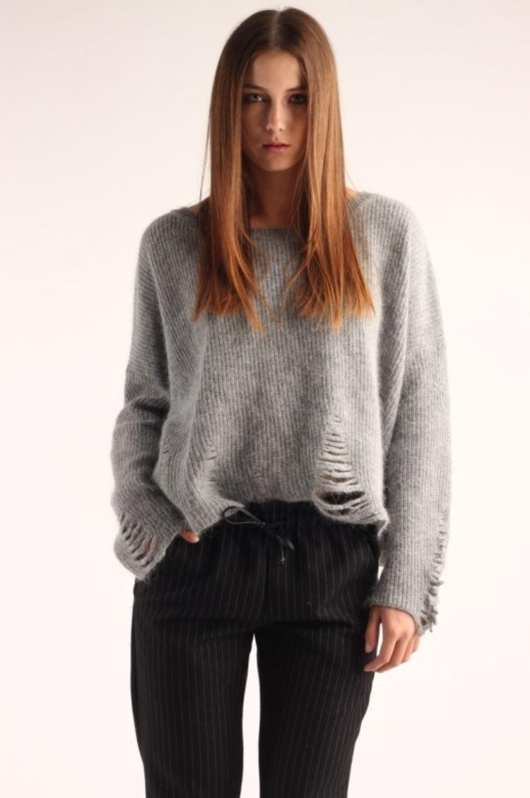Grey Hollow out Tricot Warm Sweaters Women Knitted Fashion ...