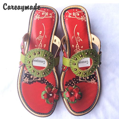 CareaymadeReal Leather Flip Flops comfortable folk style hand-painted Candy colors flowersthe retro art mori girl shoes slippers