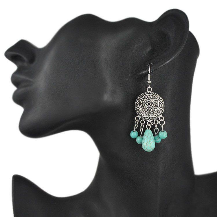 Bohème Ethnique Tribal Rétro Vintage Style Argent Résine Turquoise Goutte Dangle Boucle D'oreille Boho Boucles D'oreilles En Gros es