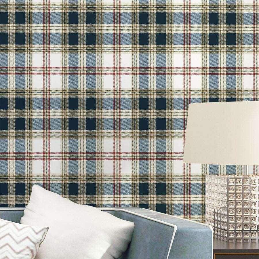 England Gittertapete British American Pastoral Scottish Plaid Vliestapete Wohnzimmer moderne Schlafzimmer Tapete