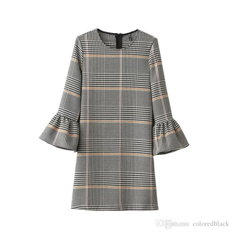 4e202496378 2019 Autumn And Winter Fashion Dress With Round Neck Loose Mandarin Sleeve  Women Dresses Tartan Design Ladies Petticoat XS L Size From Coloredblack