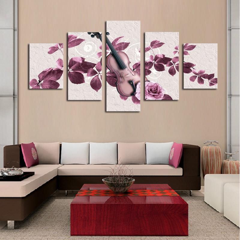 High Quality Canvas Art 5 Panel Flowers Violin Painting Home Decor Wall Art New Gift Frameless Painting