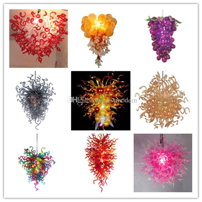 AC/DC Led Source 100% Hand Blown Borosilicate Glass Dale Chihuly Art Fancy Lamp Stylish Hotel Hanging Chandelier