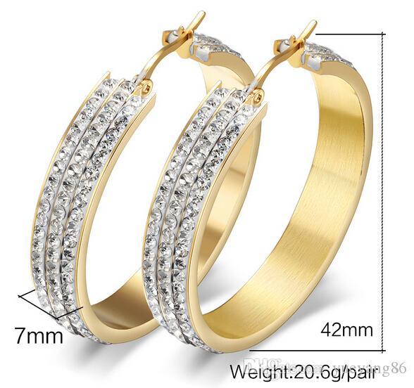 Regalo di natale di nuovo stile del partito di arrivo regalo di donne austriaco dei cristalli austriaci dell'oro dell'orecchino del cerchio rotondo di alta qualità di ultima qualità