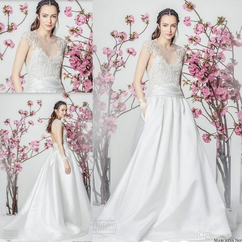 Marchesa Bridal Pocket Design Church Wedding Dresses With Sleeves