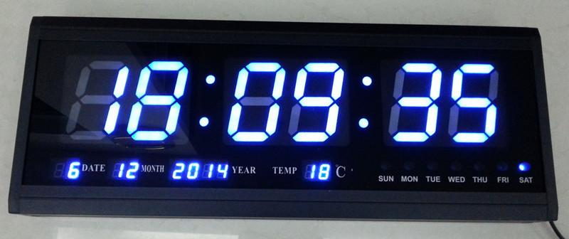 Ht4819sm 7 Aluminum Large Digital Led Wall Clock Big