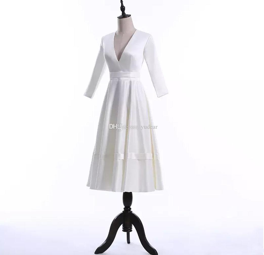 2019 أزياء الخامس الرقبة ألف خط فساتين الزفاف للحزب الصيف عارية الذراعين فساتين الشاي طول للحزب مخصص فساتين الزفاف للحزب رخيصة