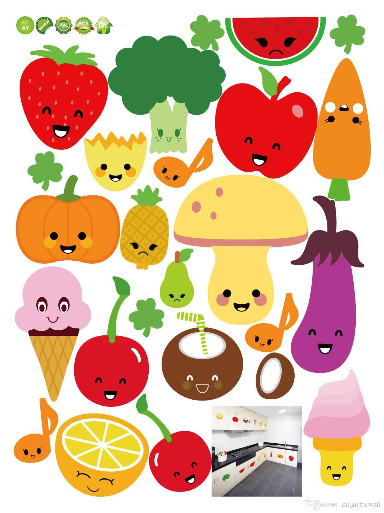 Wall Mural Stickers Cute Cartoon Fruits Wall Art Mural Decor Kitchen Wall
