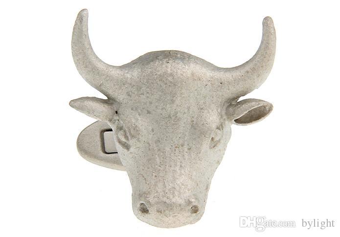 High Quality New Classic Silver Copper Mens Wedding Cufflinks Novelty Rar/e Fancy Bull Bullish Market & Clean Cloth 158223