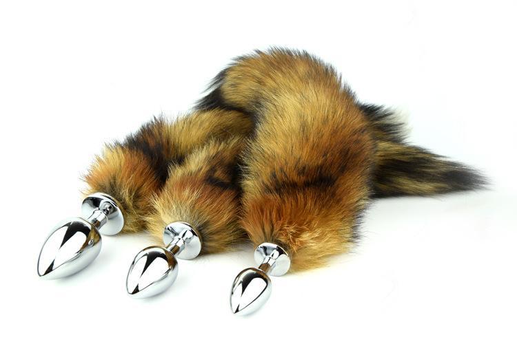Long Fox Tail Anal Plug Metal Butt Plugs Sex Toy 7.5cm 8.5cm 9.5cm Plug 3 Tamanho Para Escolha Cosplay Brinquedos
