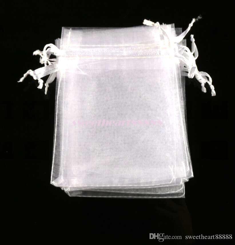 100 unids / lote Venta Caliente 4 Tamaños Blanco Bolsas de la Bolsa de Regalo de la Joyería de Organza Para los favores de la boda, perlas, joyería