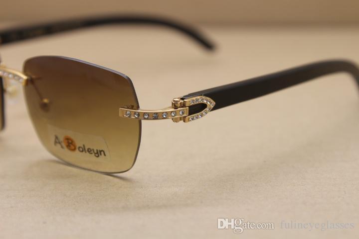 Hot New Rimless T8100905 Óculos de sol Mulheres Preto chifre de búfalo Óculos Big diamante óculos de sol óculos de condução C Decoração Tamanho: 57-18-140mm